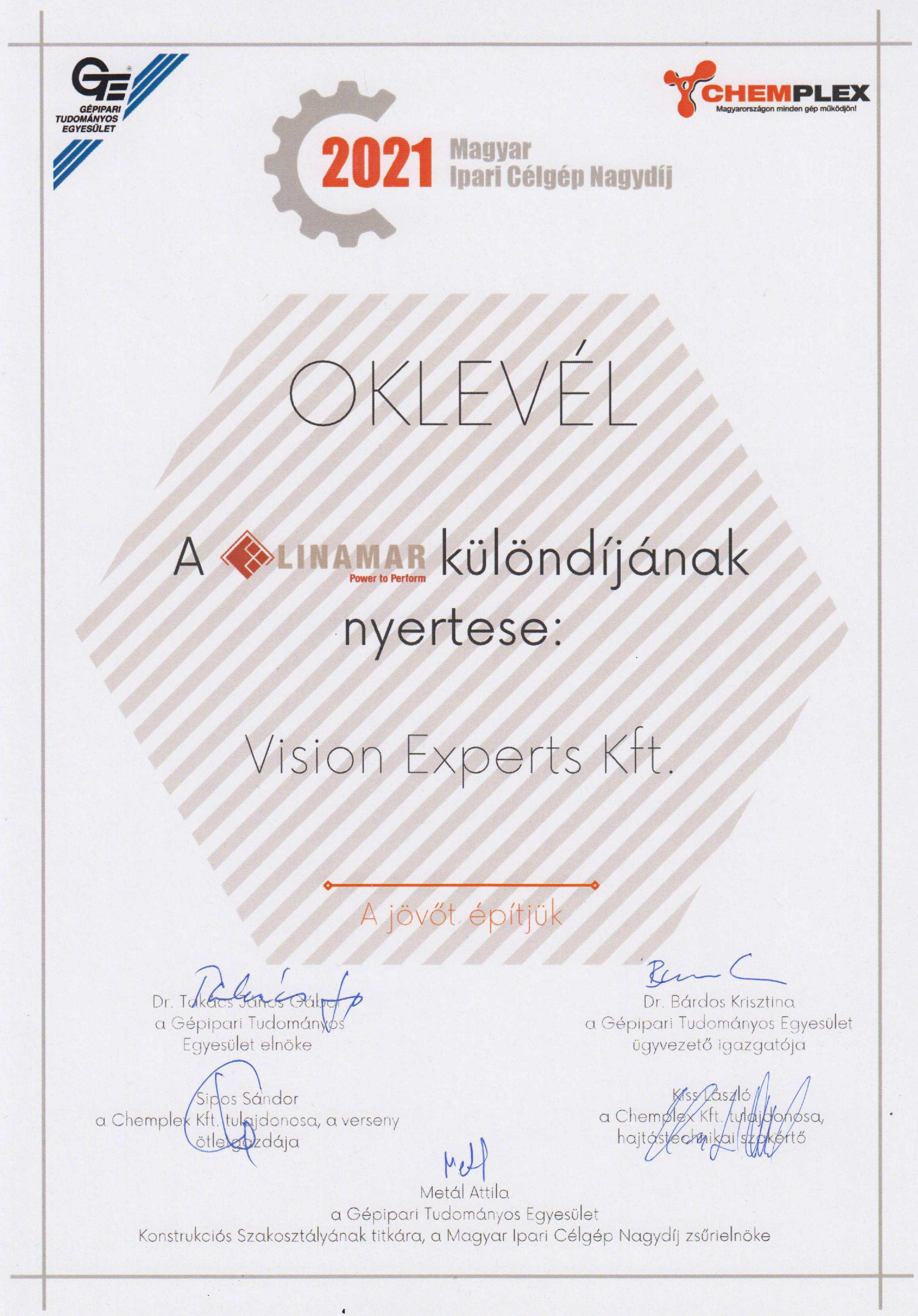 2021 Magyar Ipari Célgép Nagydíj Vision-Experts Vexis